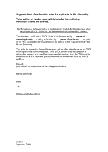 College Confirmation Letter - Learning and Work Institute England