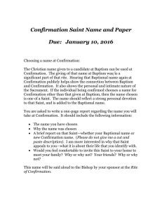 CONFIRMATION Saint Name and Paper 2015-16
