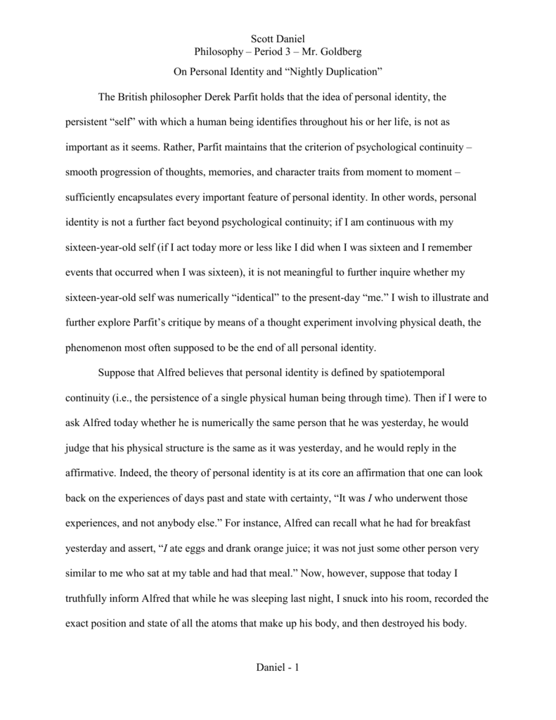 Essay identity