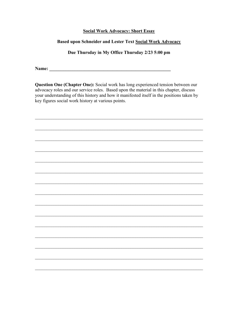 social work advocacy short essay