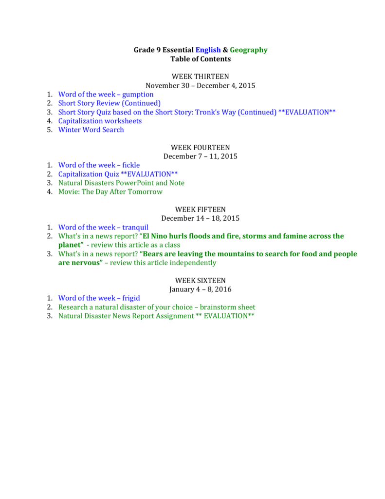 Grade 9 essential english geography table of contents week robcynllc Image collections