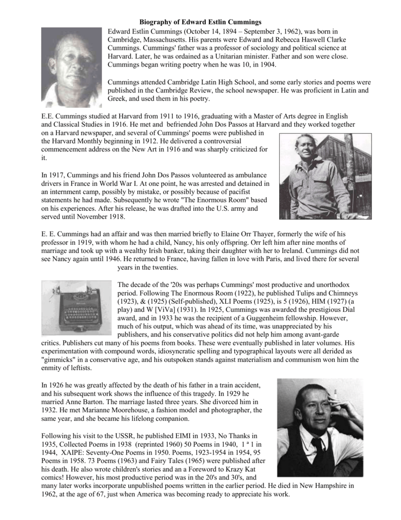 Biography Of Edward Estlin Cummings