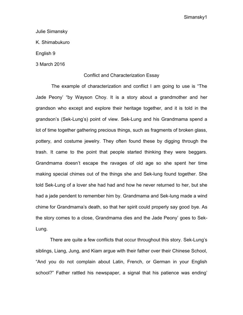 Characterization Essay.doc - JulieSimanskywritingfolder