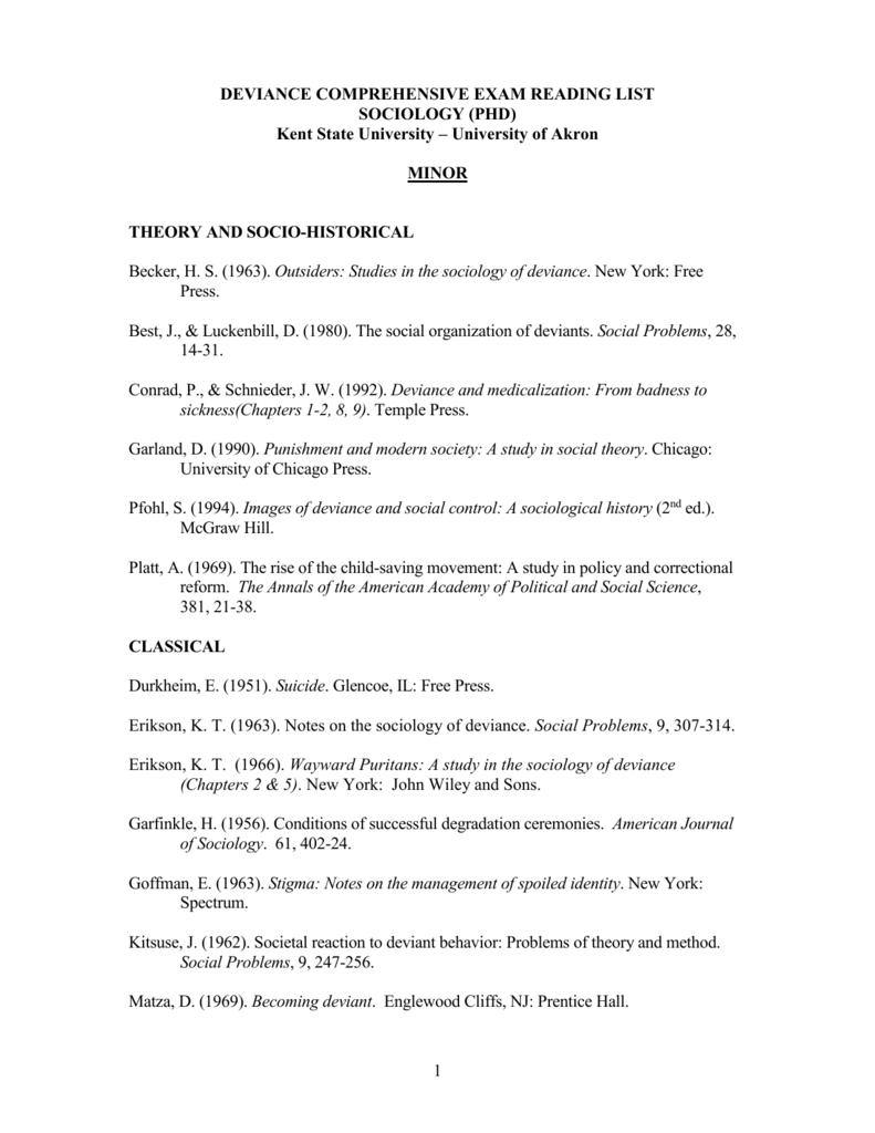 deviance comprehensive exam reading list sociology