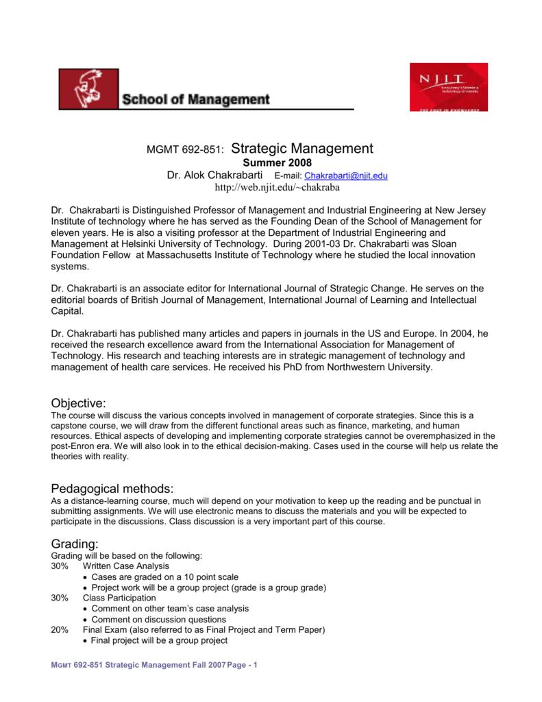 Mgmt 692 851 Strategic Management