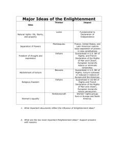 Major Ideas of the Enlightenment