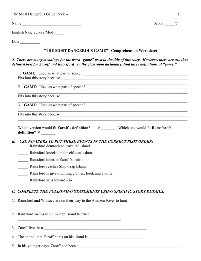 Uncategorized The Most Dangerous Game Worksheet the most dangerous comprehension worksheet