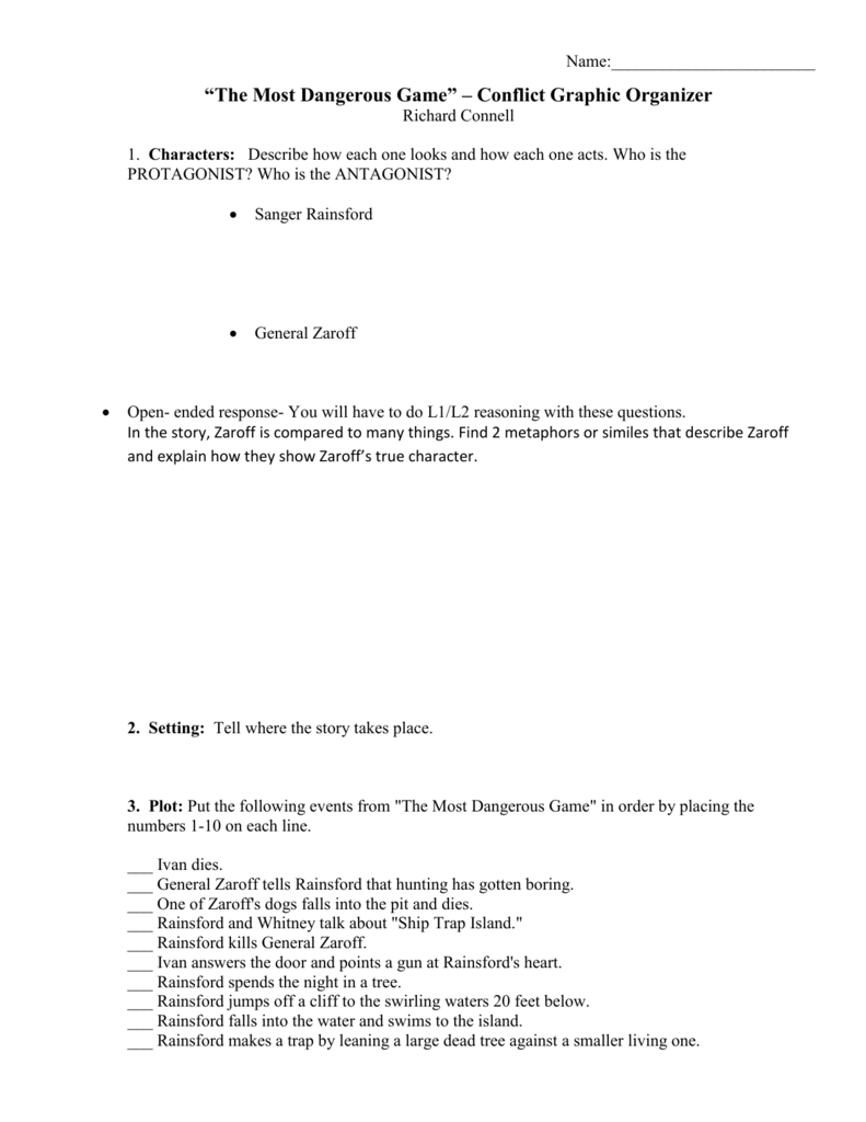 Uncategorized The Most Dangerous Game Worksheet the most dangerous conflict graphic organizer organizer