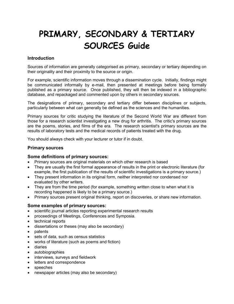 what is a secondary source in a research paper