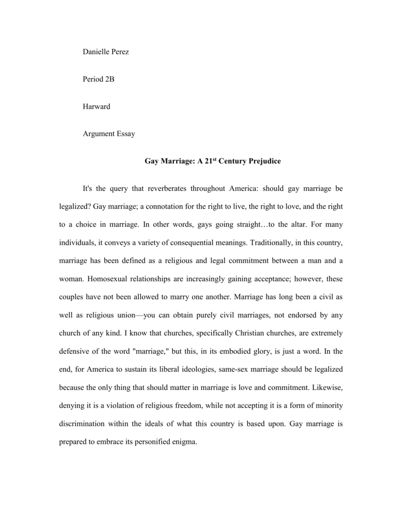 Persuasive essay gay marriage