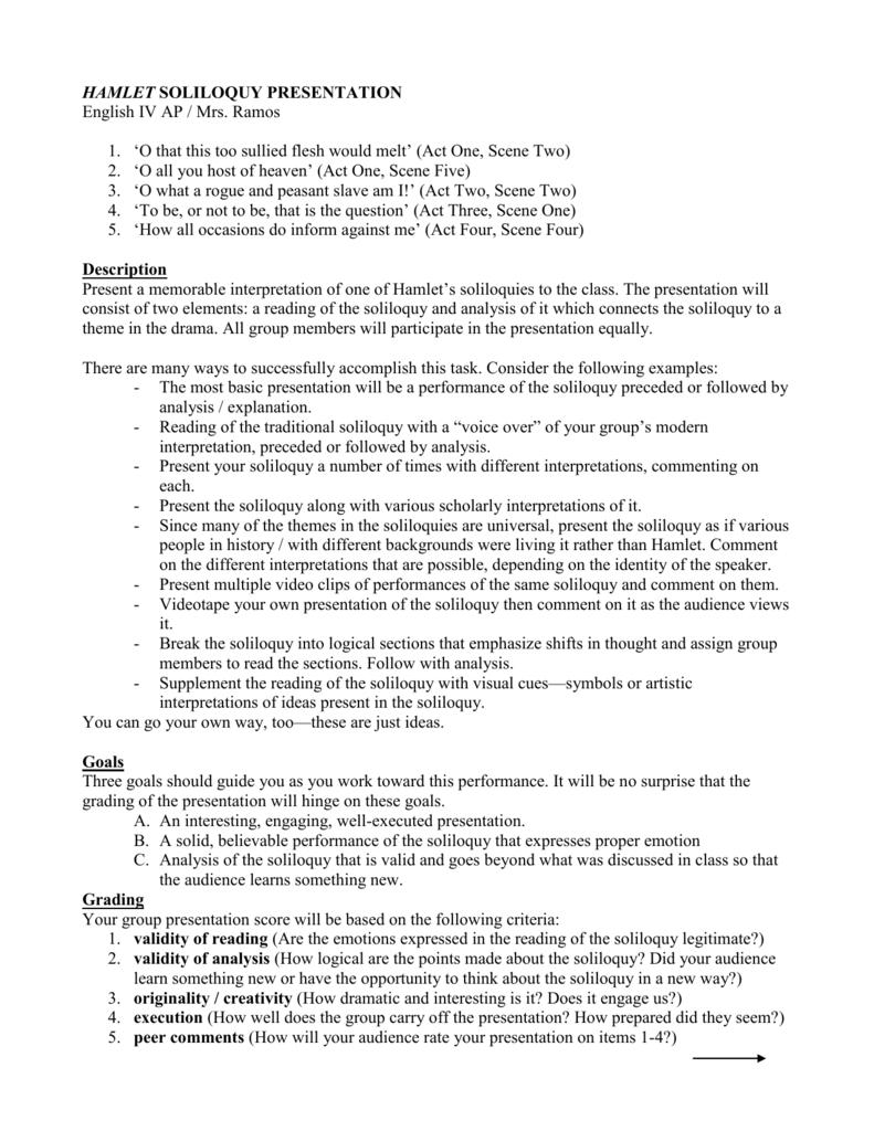 hamlet monologue analysis