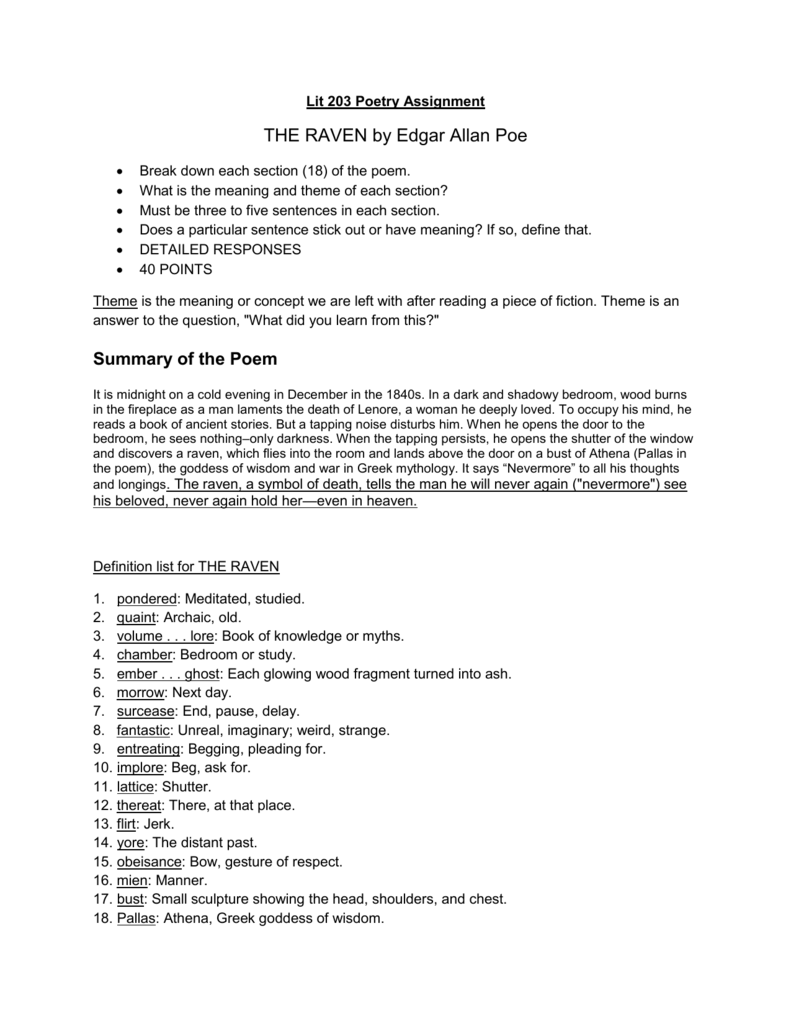The Raven Assignmentdoc