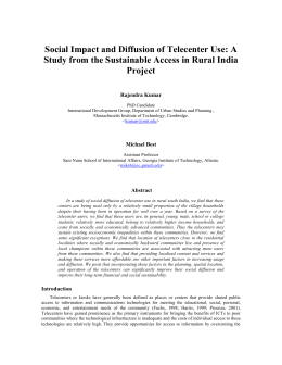 Social Impact and Diffusion of Telecenter Use