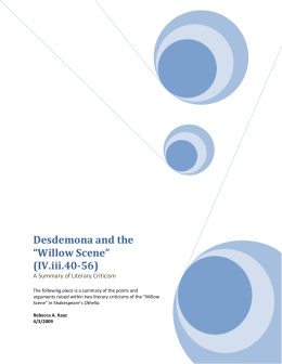 "Desdemona and the ""Willow Scene"" (IV.iii.40-56)"