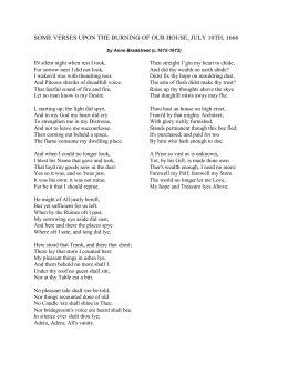 upon the burning of our house Comprehension quiz on bradstreet's poem in the last part of this poem, bradstreet uses house as a metaphor for .