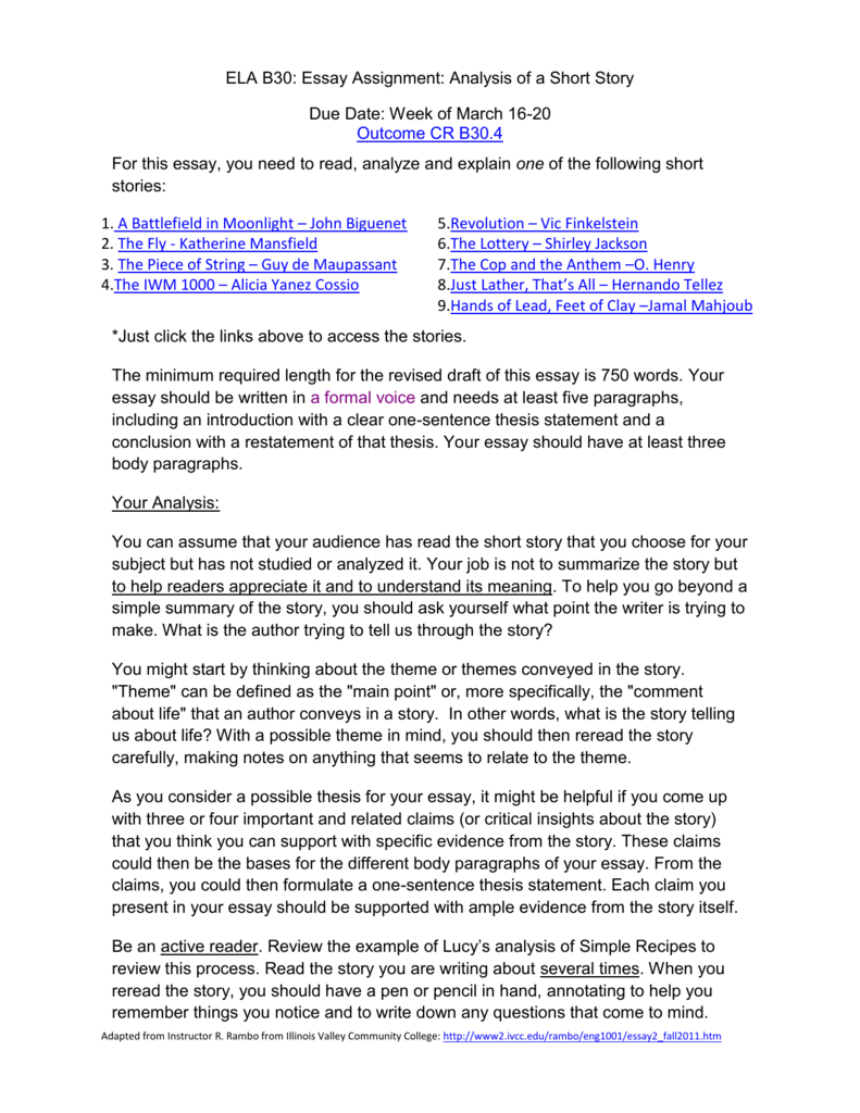 Short story analysis essay