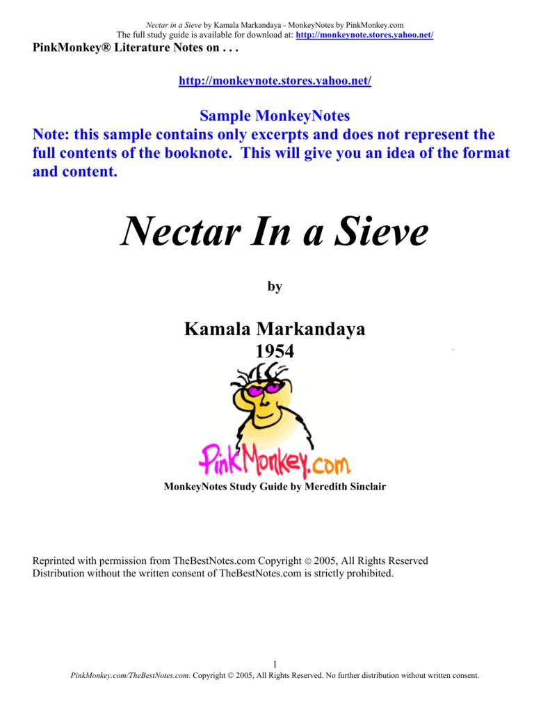 nectar in a sieve analysis