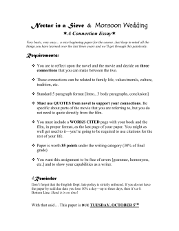 Essays Topics For High School Students Nectar In A Sieve  Monsoon Wedding Buy Essay Papers Online also English Language Essays Movie Critique Format Where Is A Thesis Statement In An Essay