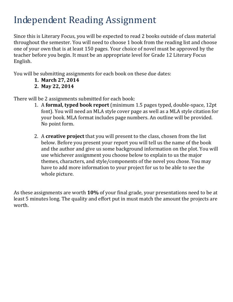 mla format book report
