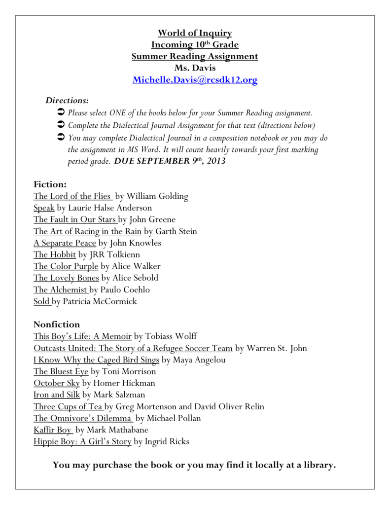 Dialectical Journal Directions
