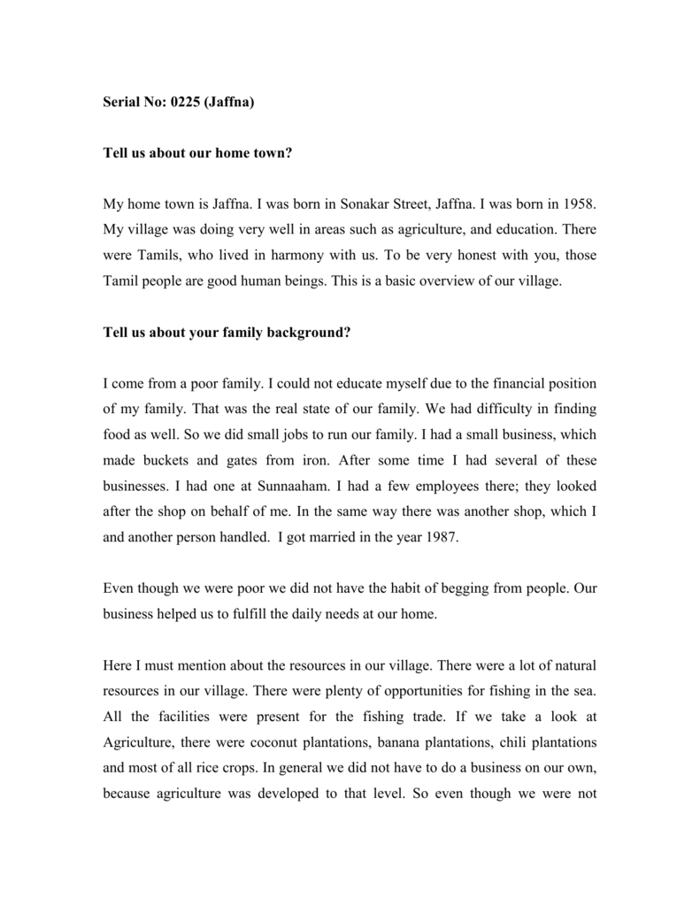 my hometown jaffna essay