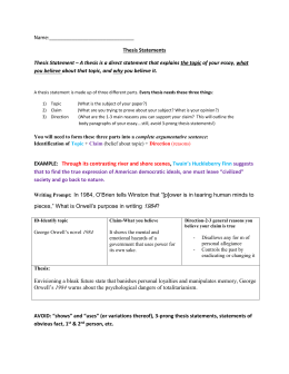 Essay Outline  Thesis Statement Workshop
