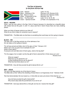 The Plan of Salvation In the South African Flag Gold – Heaven (John