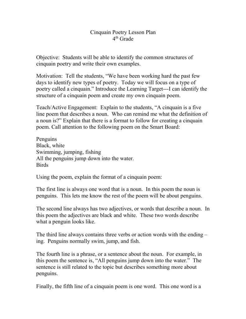 cinquain poetry lesson plan