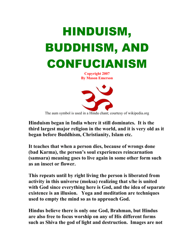 Hinduism Buddhism And Confuscism