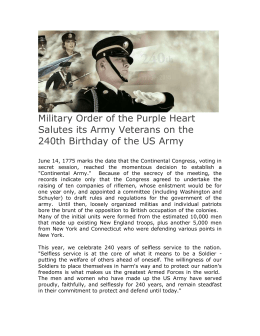 Military Order of the Purple Heart Salutes its Army Veterans on the
