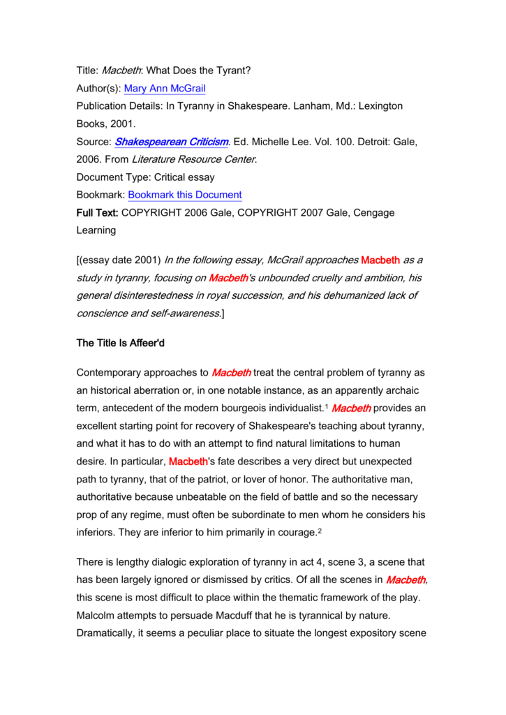 macbeth kingship vs tyranny essay
