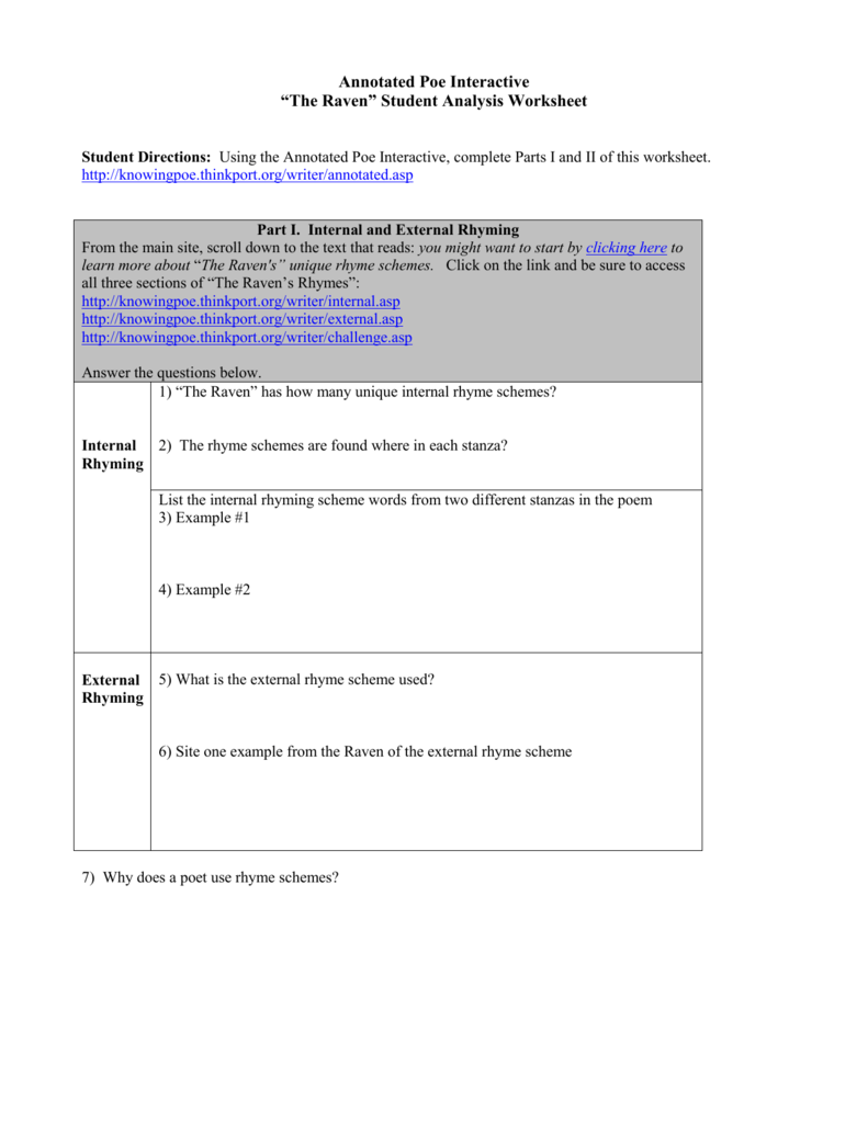 Worksheets Rhyme Scheme Worksheet annotated poe interactive activity