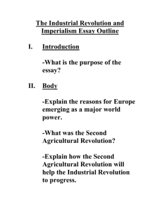 The Industrial Revolution and Imperialism Essay Outline