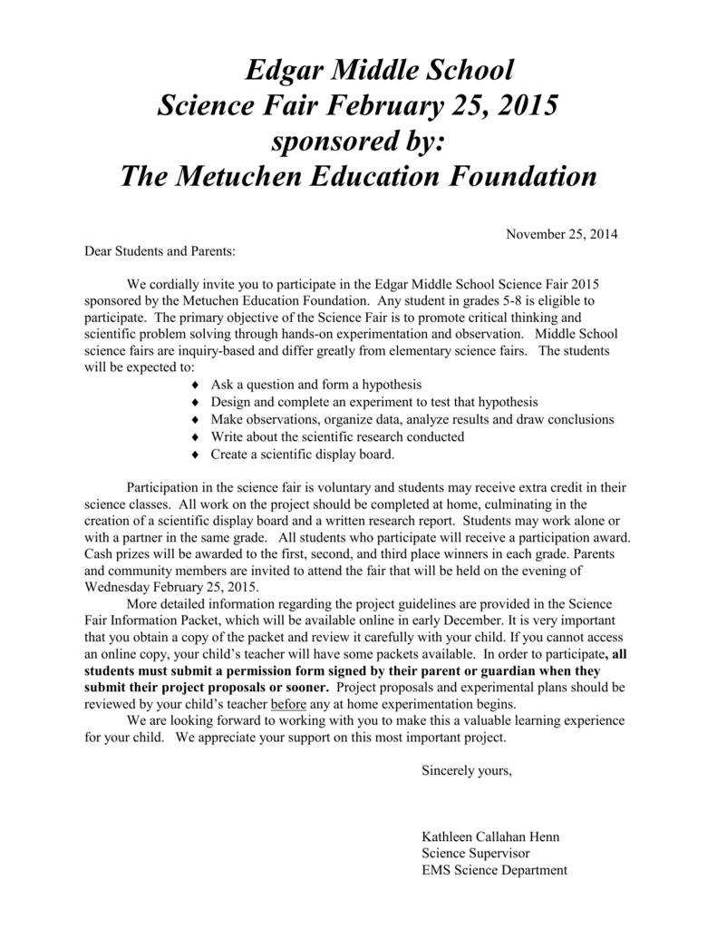 Science Fair Letter To Pas 2017