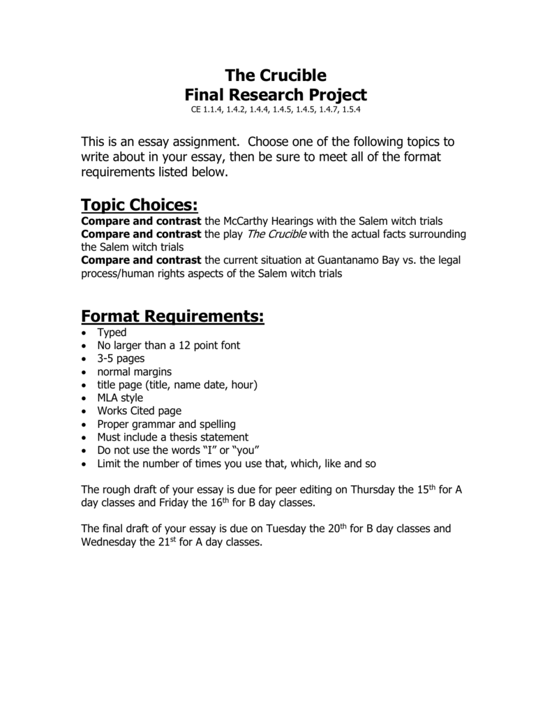 the crucible   milan area schools the crucible final research project ce         this is an essay assignment choose one of the following  topics to