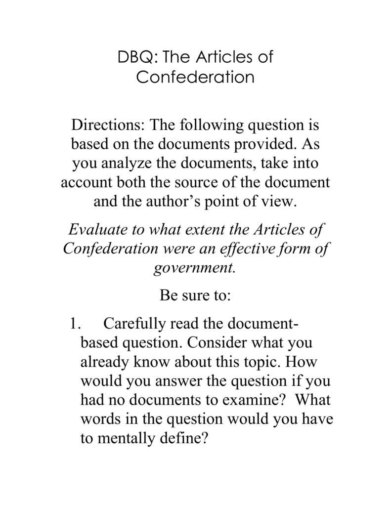 1985 dbq essay question and documents on the articles of confederation