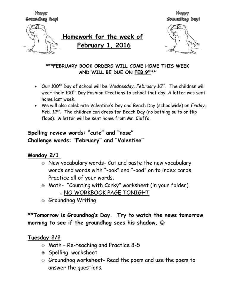 Homework for the week of February 1, 2016 ***FEBRUARY BOOK