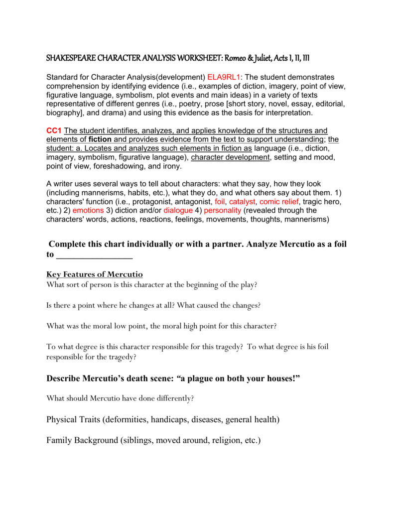 Worksheets Elements Of Fiction Worksheet shakespeare character analysis worksheet