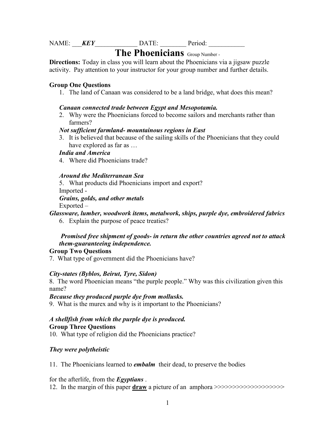 Phoenicians And Hebrews Answer Key