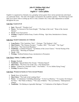 Course Syllabus - John W. Hallahan Catholic Girls` High School