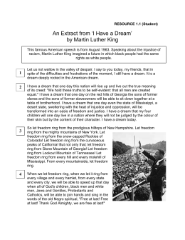 An Extract from `I Have a Dream` by Martin Luther King