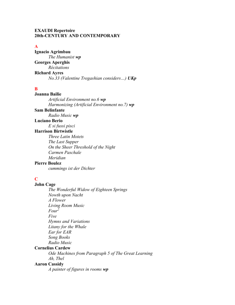 Current Repertoire List