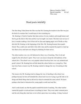 dead poets society focus questions marcus granfors 28049 special engelska k2 gr1 film essay dead