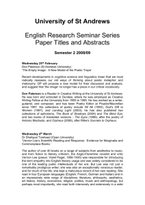Titles and Abstracts for Seminar Series