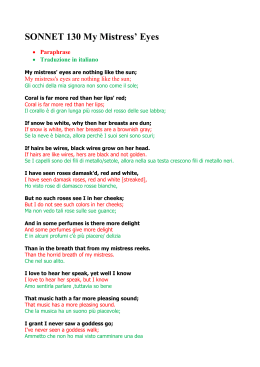 Sonnet  Sonnet  My Mistress Eyes Paraphrase Traduzione In Italiano