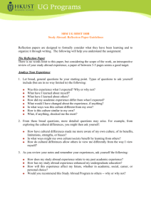 SBM UG Study Abroad: Reflection Paper Guidelines