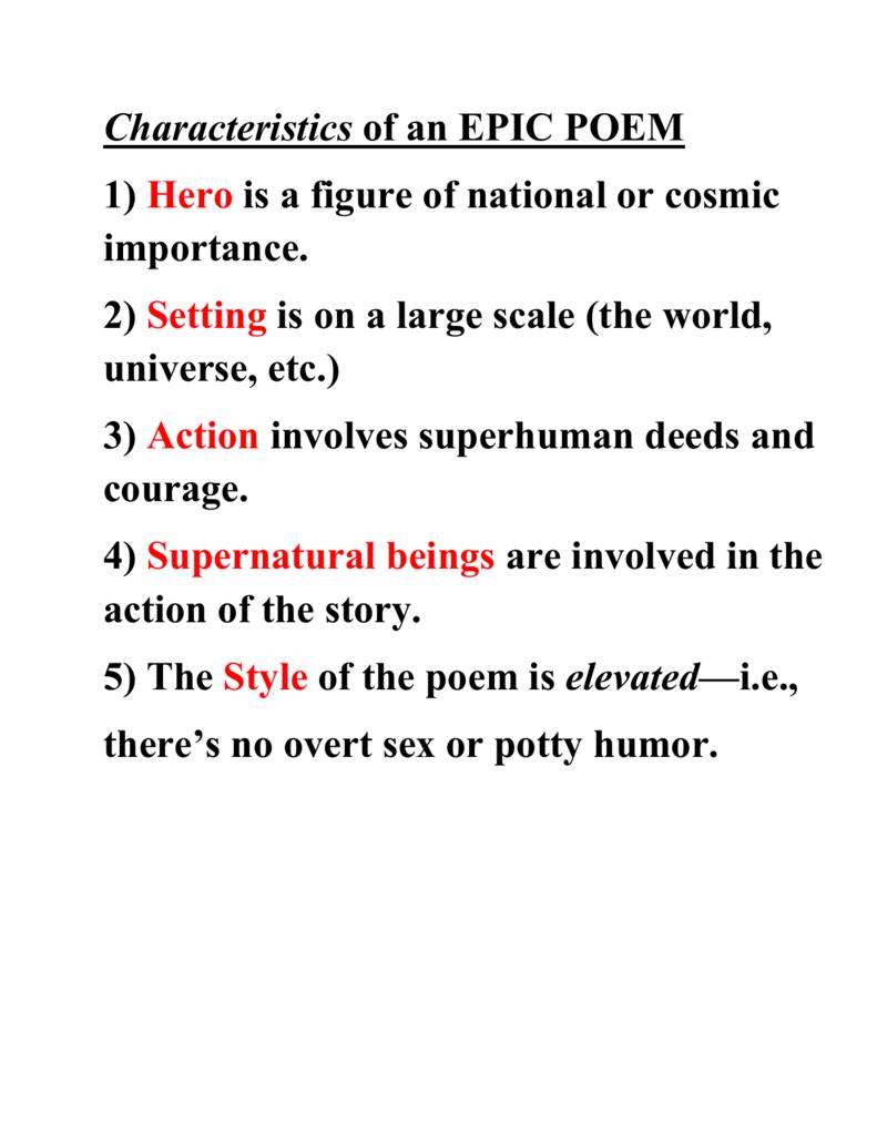characteristics of a epic poem