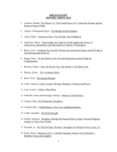 BIBLIOGRAPHY HISTORY SPRING 2015 1. Ackman, Martha. The