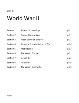 Unit 1: World War II Section 1: Rise of Dictatorships p.2 Section 2
