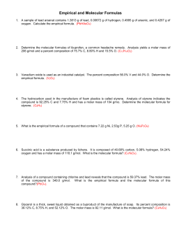 Empirical and Molecular Formulas Worksheet 1 1. The percentage